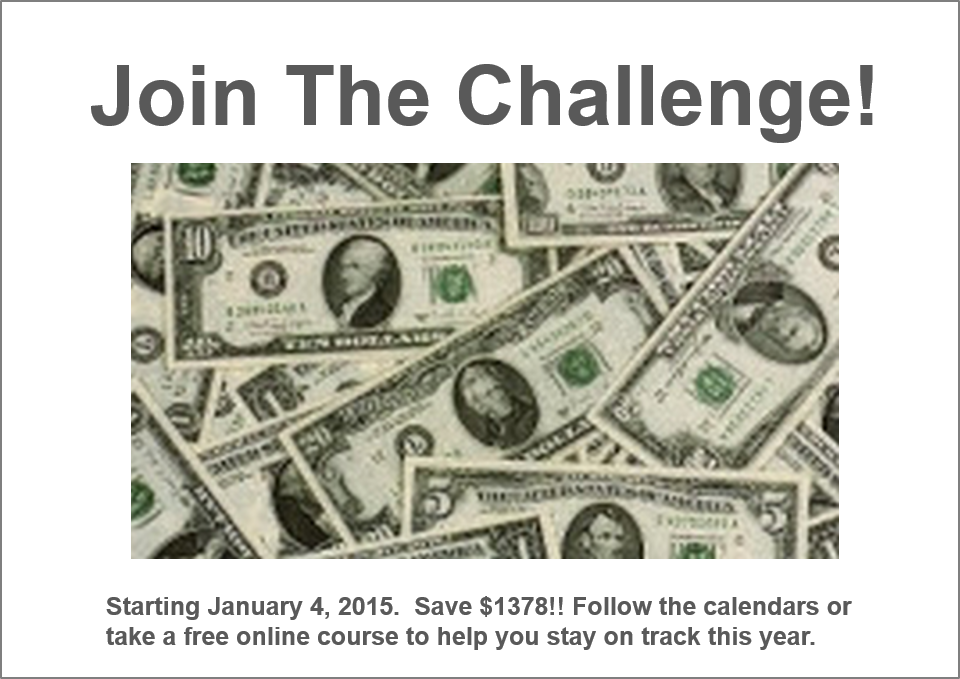 Weekly Money Challenge Chart For 2015 | New Calendar Template Site
